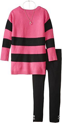 Derek Heart Big Girls' Long Sleeve Striped Sweater Tunic with Necklace and Pant Set, Fuchsia/Black, Medium