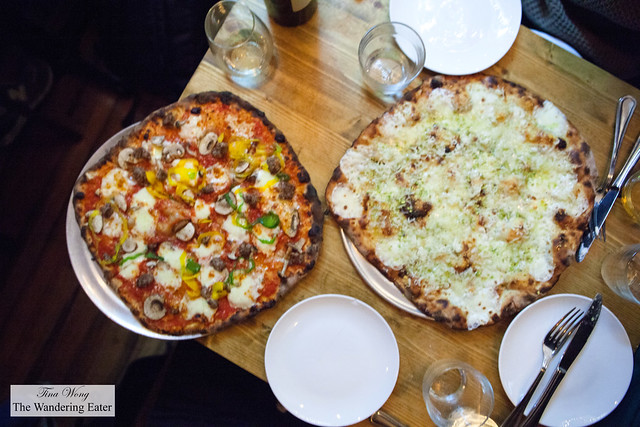 The Camp Randall and Emily pizzas