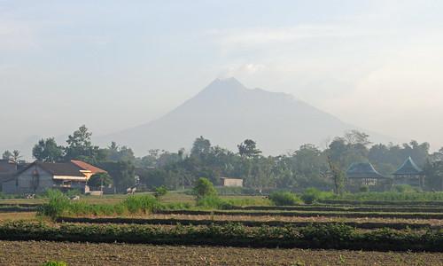 travel rural indonesia landscape volcano java asia southeastasia village farm farming fields yogyakarta merapi active activevolcano centraljava