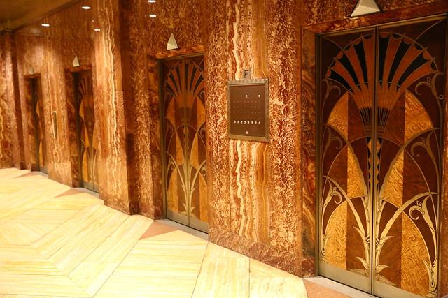 Chrysler building New York art deco wood panel elevator