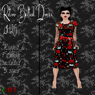 SC Retro Belted Dress - Skully Roses Ad