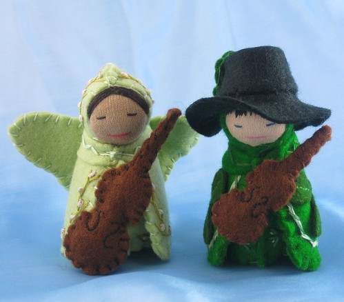 Butterfly Fairy Cello Player and Clover Fiddler