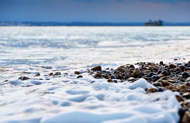 The sea meets the beach
