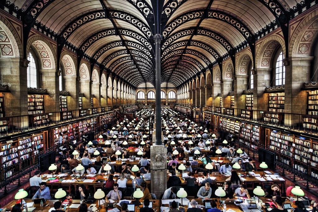 Henri Labrouste, Reading room of the Sainte-Geneviève Library, Paris, France.