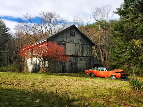 old abandoned car barn rural landscape woods junk scenery empty massachusetts country newengland derelict lgcameraphone