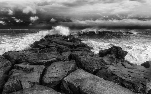 ocean sea sky blackandwhite bw seascape storm beach water monochrome clouds canon mono blackwhite rocks waves nj dramatic stormy shore atlanticcity 5d canon5d ac drama miii noreaster bw0006