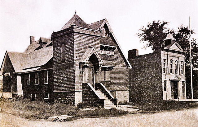 Old synagogue and firehouse circa 1900