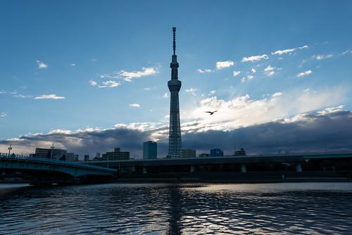 tower japan sunrise river tokyo nikon 日本 asakusa sumidagawa 浅草 d800 隅田川 東京都 台東区 afsnikkor1424mmf28ged 東京スカイツリー tokyoskytree happynewyear2015 初日の出2015
