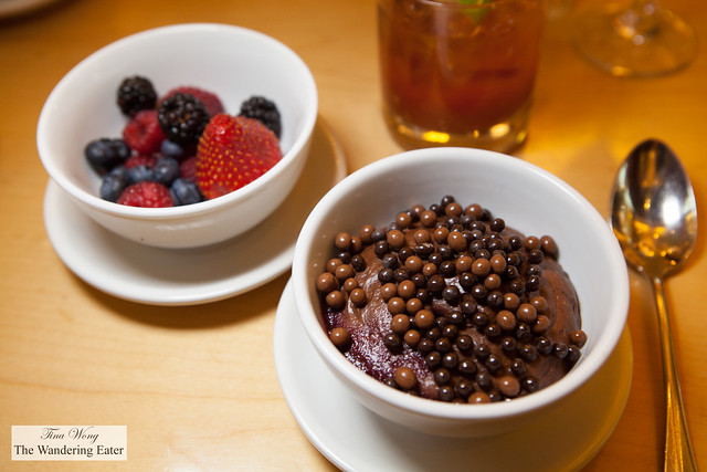 Bowl of mixed berries and Chocolate Mousse with crunchy chocolate pearls