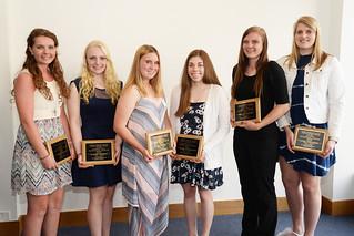 Mon, 05/23/2016 - 19:56 - Standing left to right are: Emily Sherman, Allison Herrick, Lea Brown, Andrea Biernbaum, Mikaela Nielson and Laura Karlnoski.