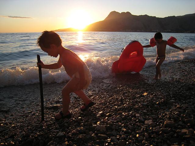 At the beach in Omis, Croatia