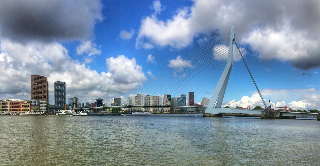 erasmusbrug rotterdam skyline daylight panorama (iphone)   flickr