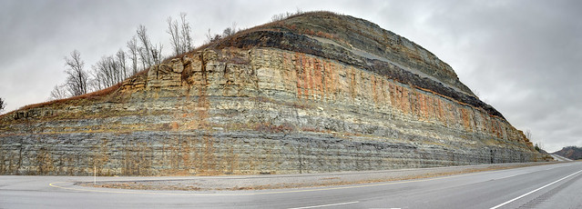 Mississippian and Ordovician strata, rock cut on Highway 109, Sumner County, Tennessee 1