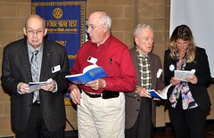 Today's leading singers: Jake Jolliff, Frank Bouknight, George Megill & visiting Rotarian from the nearby Wakefield Club...Theresa Vollmer.