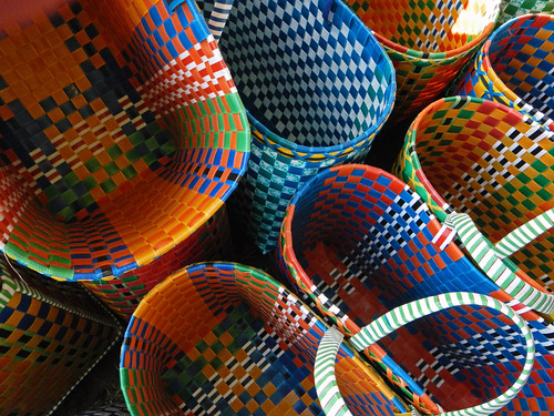 Coloured Baskets For Sale At the Weekly Market in the Village at the End of Inle Lake (Myanmar)
