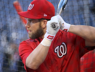 Nationals outfielder Bryce Harper takes batting practice before NLDS Game 5. | by apardavila