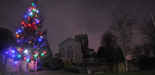 The church, christmas tree and old school site at night | by dwholcot