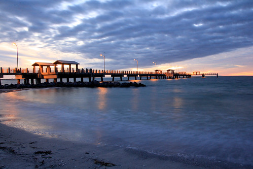 sunset fortdesoto water beach pier