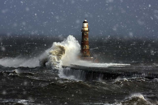 Roker Lighthouse In The Snow
