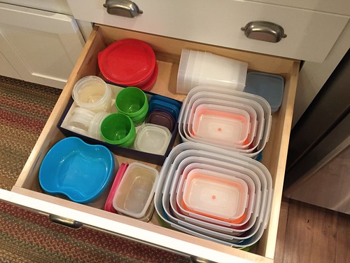 drawer of food storage containers