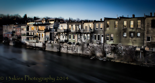 morning trees windows cold water sunrise buildings river restaurant downtown rooftops stores thegrand parison thegrandriver