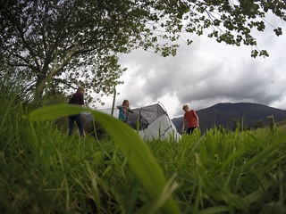 Pitching a tent near Fox Glacier   by Guy R