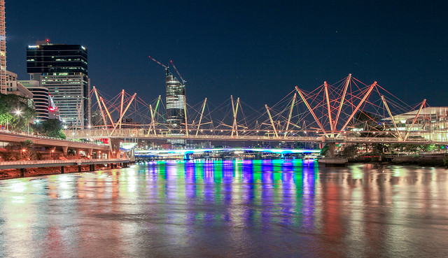 Brisbane City lights in winter