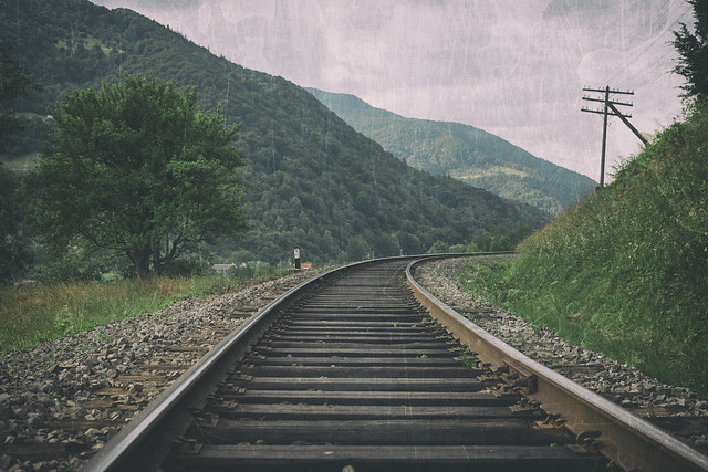 Railway in mountains, film effect