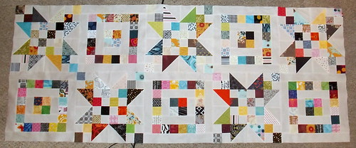 3xS (Scraps, Stars, and Squares) - Two Rows Done   by Grey Cat Quilts