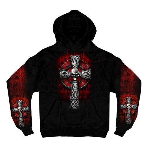 Hot Leathers Celtic Cross Pocket Hoodie (Black, XX-Large)