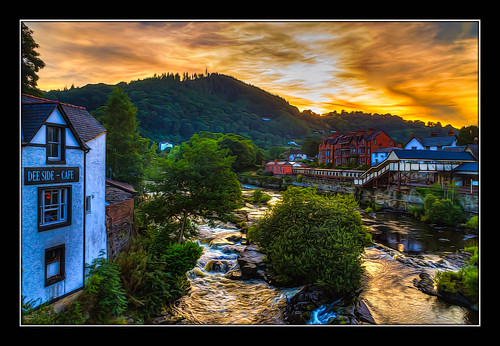 llangollen wales riverdee river hdr sunset canon1855mm architecture sky colourful kevinwalker britain trees station trains railwaystation