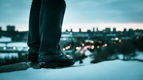 city winter sunset snow feet skyline jump twilight edmonton legs boots bokeh alberta valley edge ledge rivervalley tobeornottobe flickrfriday