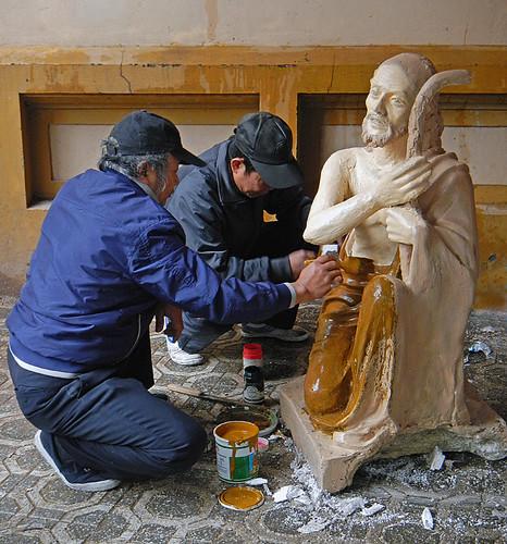Hanoi at Xmas, Painting Joseph for the Nativity Scene