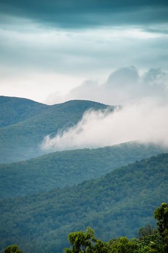 blue mountains misty fog ridge