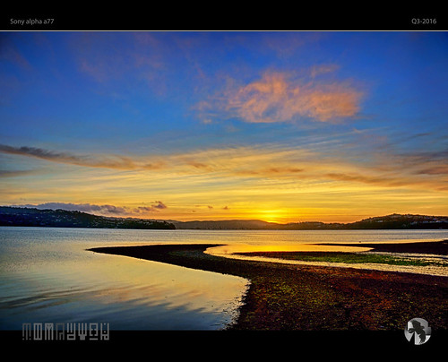 sunset sky clouds inlet zigzag beach tidal tomraven aravenimage q32016 q32013 sony alpha a77 repost