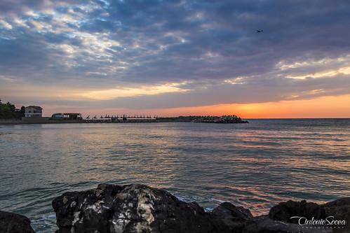 morning blue sunset sea summer sky orange sun beach water beautiful birds stone skyline clouds sunrise amazing sand blacksea sunnyday seabeach