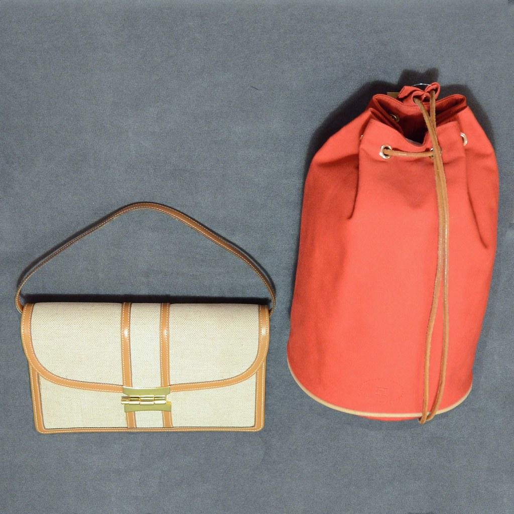 Hermès Red Bag - Hermès Leather & Fabric Bag