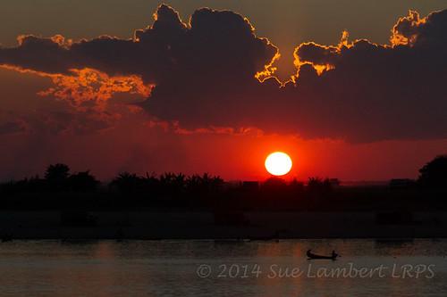 sunset sun sunlight silhouette sundown canoe ayeyarwady myanmarburma henzada republicoftheunionofmyanmar