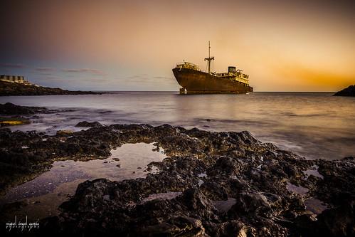 ocean sunset seascape water ship lanzarote canaryislands arrecife ghostship telamon worldtraveler