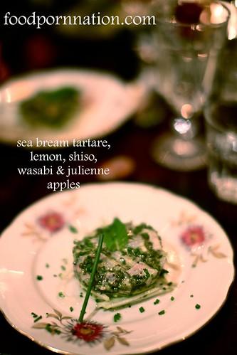 Sea Bream Tartare, Lemon, Shisho & Wasabi on Julienne Apples   by Priscilla @ Food Porn Nation
