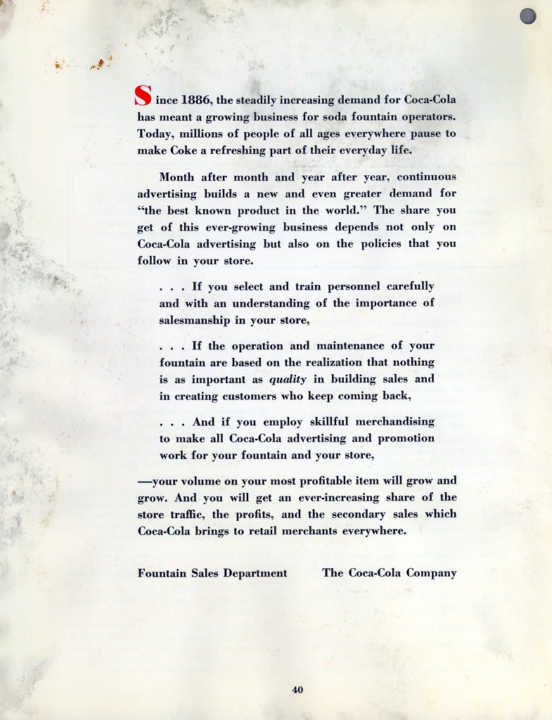 Coca-Cola 1954 | Profitable Soda Fountain Operation | File