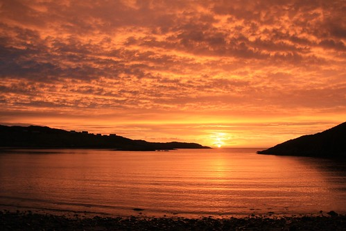 scourie scotland sunset sunlight cloud water beach coast coastal seaside seashore sea silhouette ocean sutherland