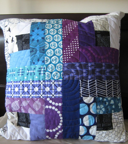 Purple and blue log cabin pillow | by quiltyhabit