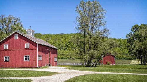 trees ohio red building grass museum architecture barn fence landscape outdoor farm historical halefarmandvillage