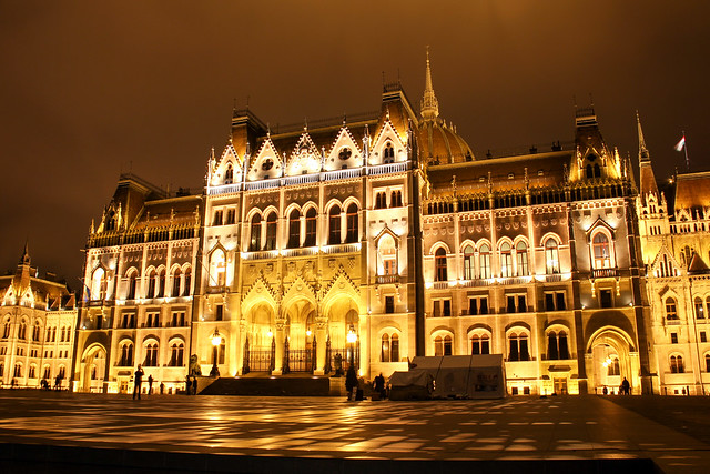 Budapest - hungarian Parliament entrance illuminated 2