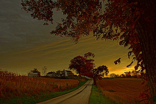 road fall sunrise farm
