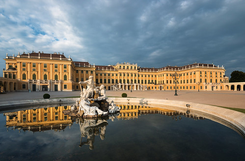 schönbrunn vienna wien morning travel blue trees windows light vacation sky people panorama sculpture orange cloud holiday storm reflection tree window water fountain yellow stone architecture clouds facade sunrise reflections austria österreich nikon warm europa europe angle cloudy stones no widescreen brunnen wide warmth stormy palace symmetry well cobble symmetrical kaiser schloss 169 philipp d800 klinger habsburg reflectiosn empereor habsburger