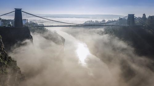 mist fog bristol cliftonsuspensionbridge