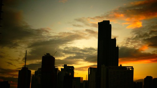 sunset sky cloud skyscraper buildings district central business manila
