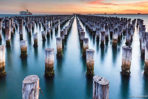 color landscape army harbor pier long exposure pattern ship pacific harbour australia melbourne oceania